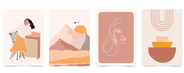 Postal abstrato com montanha e sol