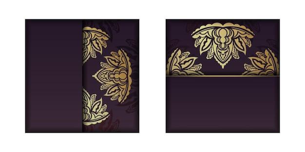 Postal da borgonha com ornamentos de ouro antigos para a sua marca.