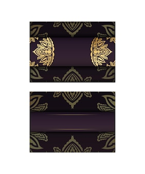 Postal da borgonha com ornamentos de ouro vintage para os seus parabéns.