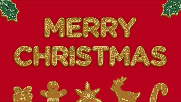 Postal de feliz natal com pão de mel de natal decorado