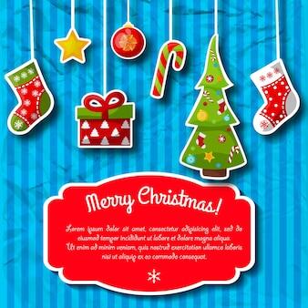 Postal de férias listrado de azul com decorações de natal e campo de texto em vermelho