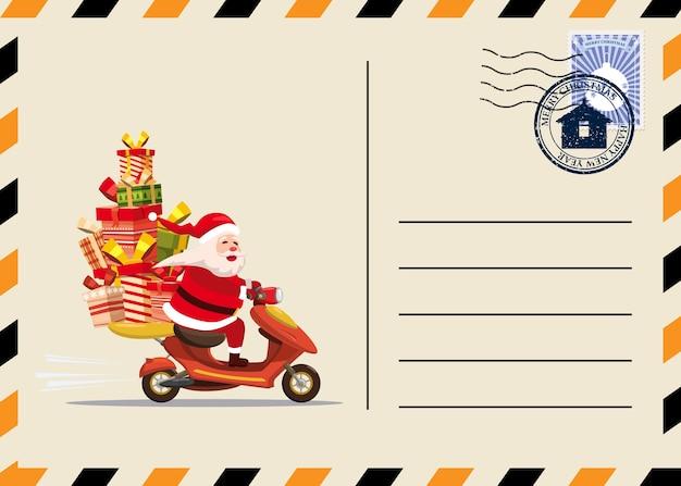 Postal de natal e ano novo com selos e marca.