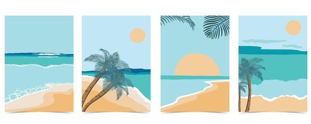 Postal de praia com sol, mar e céu diurno