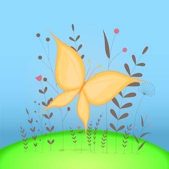 Postal de presente com borboleta de animais dos desenhos animados. fundo floral decorativo com ramos e plantas.