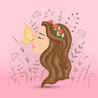 Postal de presente com garota de animais dos desenhos animados. fundo floral decorativo com ramos e plantas.