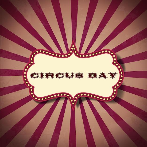 Postal do dia do circo em fundo retro