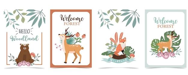 Postal fofo da floresta com animais Vetor Premium