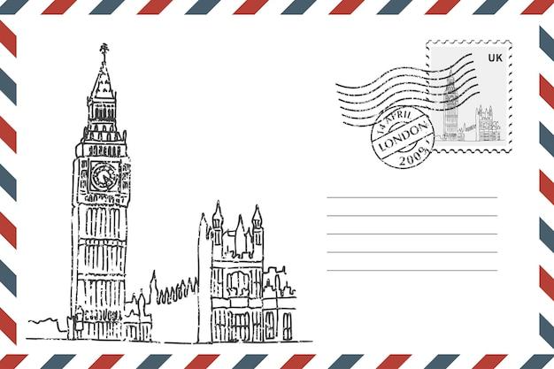 Postal retro envelope com mão desenhada big ben em londres. envelope de estilo grunge com carimbo. ilustração vetorial