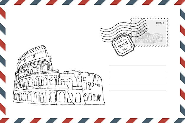 Postal retro envelope com mão desenhada coliseu em roma. envelope de estilo grunge com carimbo. ilustração vetorial