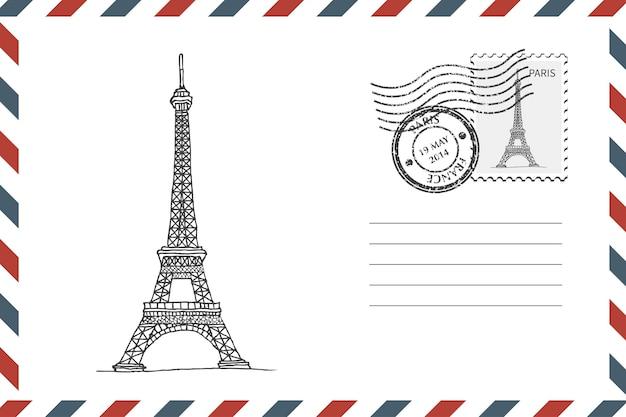 Postal retro envelope com mão desenhada torre eiffel em paris. envelope de estilo grunge com carimbo. ilustração vetorial