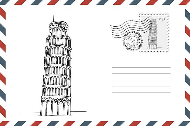 Postal retro envelope com mão desenhada torre inclinada de pisa, na itália. envelope de estilo grunge com carimbo. ilustração vetorial