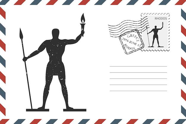 Postal retro envelope com mão desenhadarhodes na ilha da grécia. envelope de estilo grunge com carimbo. ilustração vetorial
