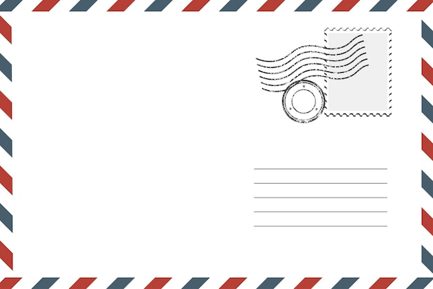 Postal retro envelope em branco com selo. ilustração vetorial