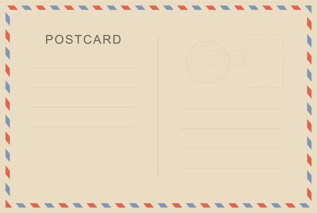 Postal vintage com textura de papel. modelo de cartão postal de viagens. cartão postal. cartão-postal em branco. Vetor Premium
