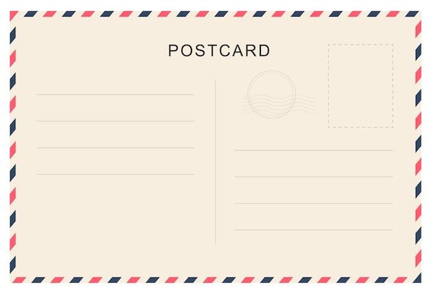 Postal vintage com textura de papel. modelo de cartão postal de viagens. design de cartão postal. cartão postal em branco.