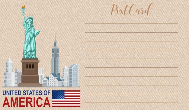 Postal vintage em branco com o monumento nacional da estátua da liberdade