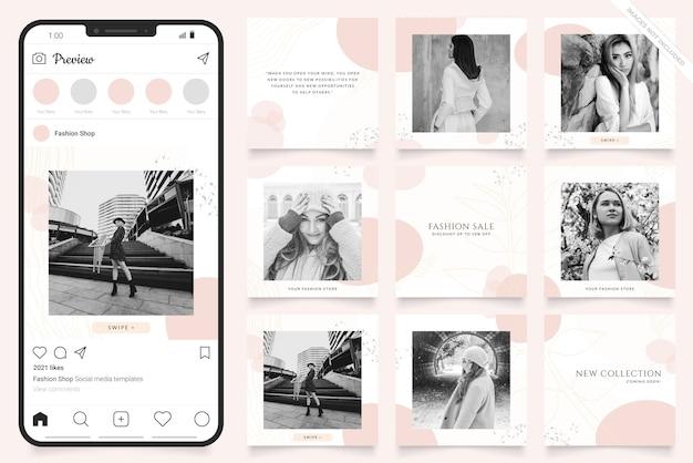 Postar em mídias sociais e alimentar modelo de banner de moda