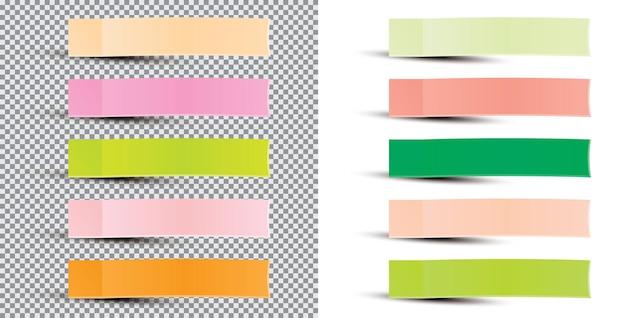 Postar nota adesivo. ilustração vetorial. fita adesiva de papel com sombra. fita adesiva de papel de escritório. realista isolado.