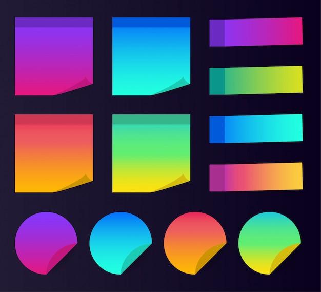 Postar papel de nota. notas coloridas pegajosas.