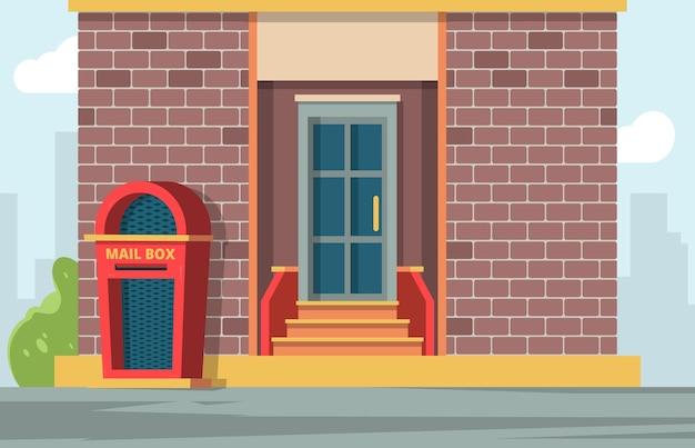 Poste a caixa de correio. paisagem urbana com caixa de correio perto de fundo de vetor de recipiente de mensagens de casa. ilustração da caixa de correio perto da casa