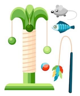 Poste de arranhões de gato e ícone de cor de brinquedos de estimação. acessórios para gatos. ilustração. produtos para pet shop. ilustração em fundo branco.