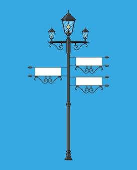 Poste de ferro forjado com sinal vazio
