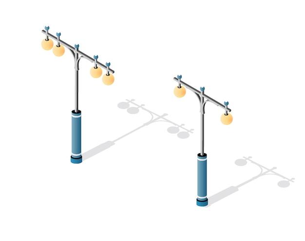 Poste de luz com lanternas e iluminação urbana
