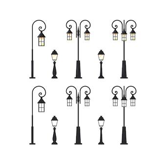 Poste de luz da rua. conjunto de lanternas da cidade isoladas
