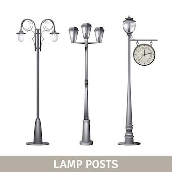Poste de luz estilo antigo conjunto de luzes de rua elétrica
