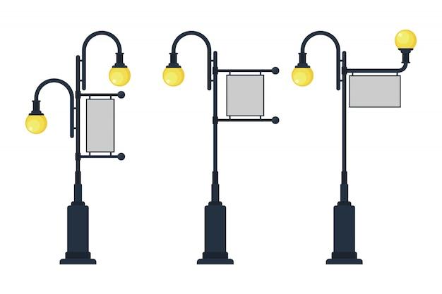 Poste de luz vintage com sinal para ilustração de publicidade