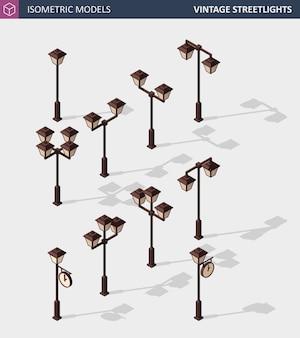 Poste de luz vintage. postes de luz retrô isolados no branco Vetor Premium