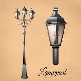 Poste de luz vintage retrô definido com lanterna de eletricidade
