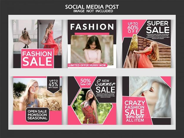 Poste de mídia social para desconto de venda