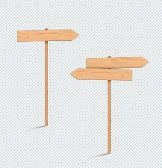 Poste de sinalização de madeira flecha vazia 3d de duas direções