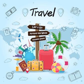 Poste de sinalização e objetos de viagem, acessórios e elementos de verão com bagagem