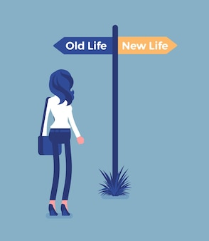 Poste de sinalização para direcionar uma mulher, uma velha e uma nova escolha de vida. jovem escolhendo um caminho, iniciar outro caminho, pensando na decisão de começar e mudar de estilo de vida, torna-se diferente. ilustração vetorial