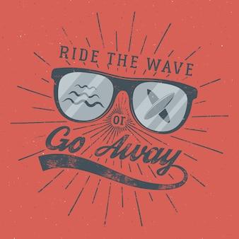 Poste de surf vintage. emblema de óculos de surfista.