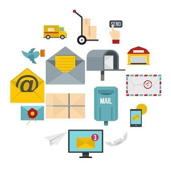 Poste service icons set em estilo simples