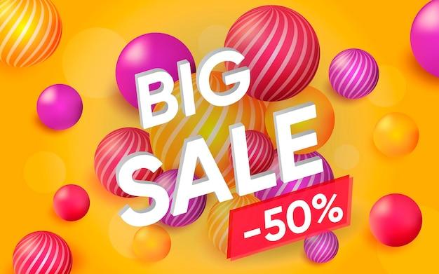 Pôster 3d de big sale design realista ilustração de publicidade