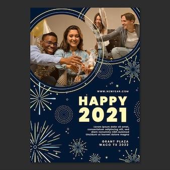Pôster a4 de ano novo de 2021