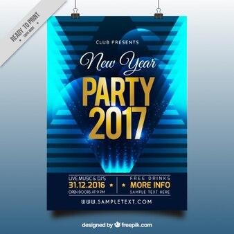 Poster abstrato azul do partido do ano novo