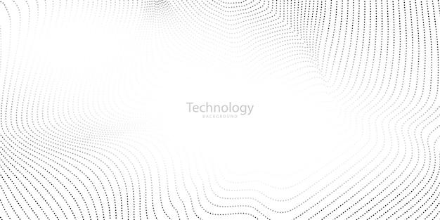 Pôster abstrato cinza com ondas dinâmicas. ilustração de rede de tecnologia de partículas.