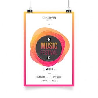 Poster abstrato colorido da música