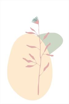 Pôster abstrato com folhas de flores e formas de ramos de folhas e ovais em um fundo branco