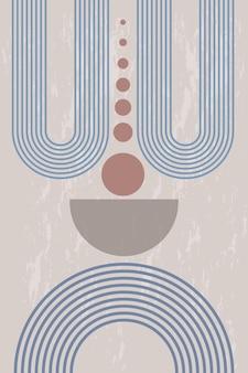 Pôster abstrato com formas geométricas e linhas no estilo boho