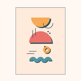 Pôster abstrato com um conjunto de formas e texturas simples em fundo laranja claro