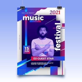 Pôster abstrato de evento esportivo para 2021 com foto