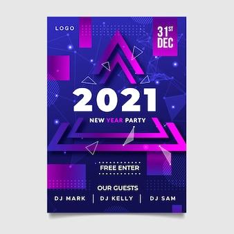 Pôster abstrato de feliz ano novo de 2021 com triângulos