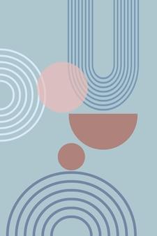 Pôster abstrato de formas geométricas e linhas com estampa de arco-íris e círculo de sol