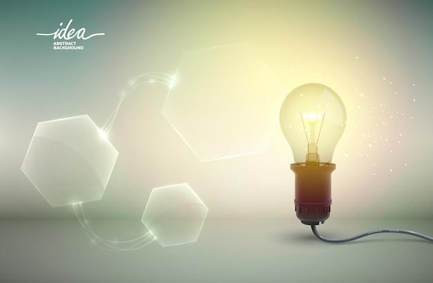 Pôster abstrato de lâmpada amarela com equipamento elétrico e ilustração de hexágonos de tamanhos diferentes